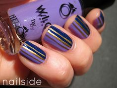 Nailside: purple and gold stripes