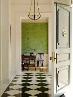 Beautiful Chinoserie Wallpaper To Make Room In Your Home Look More Classy : Traditional Entry Wonderful Green Chinoserie Wallpaper Plus Molding In Shown In The Dining Room Pairs With Graphic Elements Black And White Marble Floor Pattern
