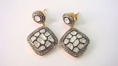 Polki Diamond Vintage & Antique Stud Daimond 925 Silver Earrings Jewelry #Unbranded