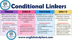 Conditional Linkers - English Study Here Grammar And Vocabulary, English Vocabulary, English Grammar, English Language, English Verbs, Second Language, Types Of Sentences, English Sentences, English Teaching Materials