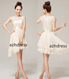 Bridesmaid Dress with Short Illusion Chiffon Flowy by azhdress, $89.00 (this can be made with an even hem at a preferred length which I like more.)