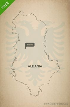 Free printable vector map of Albania outline