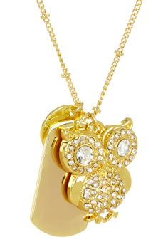 Owl Pave Charm Necklace