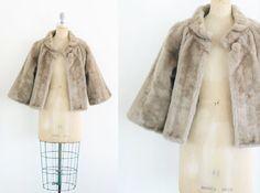 Vintage 1950s Faux Fur Coat 60s Swing Coat 50s Cape by JupeDuJour
