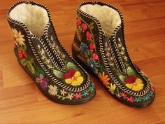 These are so beautiful! Embroidery on felt boots- EMBROIDERED felts by Eve Burmeister-Estonia