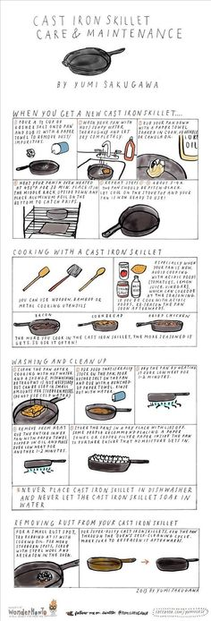 For cooking with and maintaining a cast iron skillet. | 27 Diagrams That Will Make You A Better Cook