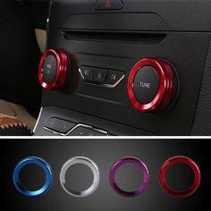 4pcs / set coches alu decoración estéreo anillo de mando de aire acondicionado círculo anillo de mando para completamente ford