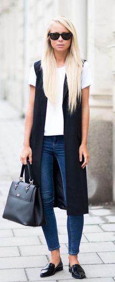 Veste sans manches noire | On aime d'amour