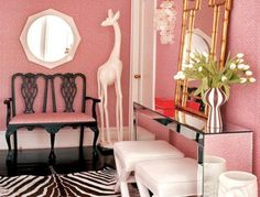 Hollywood Regency...LOOK AT ALL THE PINK! AND ZEBRA!