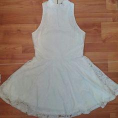 White lace dress ❤ turtle neck  ❤ razor back  ❤ circle skirt ❤ lace w white lining underneath Dresses