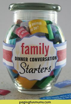 Family Dinner Conversation Starters Jar! Click for a FREE printable to make your own Conversation Starter Jar!