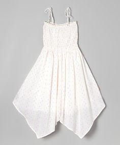 White Thanks a Dot Handkerchief Dress - Girls #zulily #zulilyfinds