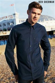 Ben Sherman navy printed shirt