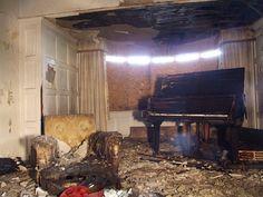 Interior with piano in Hermiston House. Hermiston House is on Golf Course Road, in Bridge of Weir, Renfrewshire, Scotland.