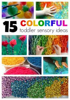 Great list of 15 colorful sensory activities for toddlers including messy play, lightbox, and mess-free ideas! These sensory ideas will definitely get your kid's attention! The colors are bright and beautiful and oh so engaging! #colors #toddlers #sensoryideas #sensory #sensoryactivities #kidsactivities Sensory Activities Toddlers, Games For Toddlers, Sensory Bins, Craft Activities For Kids, Infant Activities, Sensory Play, Sensory Table, Family Activities, Indoor Activities