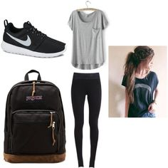 A fashion look from June 2015 featuring NIKE leggings, NIKE sneakers and JanSport backpacks. Browse and shop related looks.
