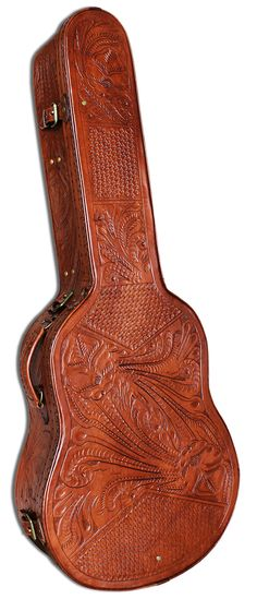 Hand-tooled leather guitar case. Beautiful. My dream guitar case