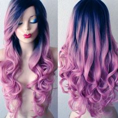 Heat Resistant Black Purple Wavy Hair Synthetic Lace Front Party Cosplay Wigs  | eBay