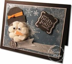 Snowman Card...marshmallows in the Stampin' Up sweet treat cups (serve with hot chocolate) video: by alejandra.