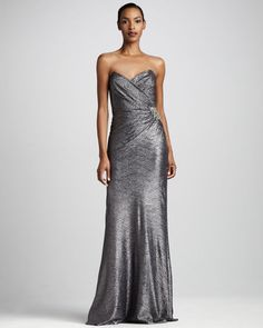 ShopStyle: David Meister Gathered Metallic Gown