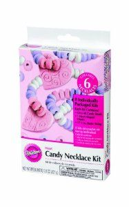 Wilton 2104-2175 6-Pack Valentine Heart Candy Necklace Kit by Wilton. $3.99. 6 Individually packaged kits. Adult supervision required. When all beads are strung, bring the ends together and tie a knot to secure. Mix up the colors any way you want add the candy charm. Easy to make, fun to wear and eat. Mix up the colors any way you want. add the candy charm. 6 individually packaged kits. easy to make, fun to wear and eat.