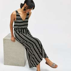 Love the mix of horizontal and vertical stripes in this maxi dress Vertical Stripes, Floral Maxi Dress, Black Satin, Black Stripes, Summer Outfits, Summer Clothes, Jumpsuit, V Neck, Warehouse
