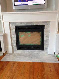 Half Brick Fireplace Surround with Elevated Hearth | Harris Doyle ...