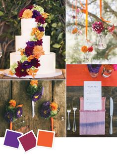 15 Wedding Color Combos You've Never Seen From bridesmaid dresses to your table decoration, centerpieces to cake, classic purple and orange will be the top combination for fall wedding. It will make your wedding more vintage and luxury! Wedding Color Combinations, Fall Wedding Colors, Wedding Color Schemes, Wedding Flowers, Color Combos, Wedding Colors For August, Sunset Wedding Theme, Orange Wedding Colors, Fall Flowers