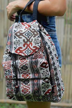 Ikat Abstract tribal native design backpack/ School Bag/ Ethnic rucksack/ holiday bag /Hippie / Boho/ Folk / gypsy / handwoven/ tapestry bag