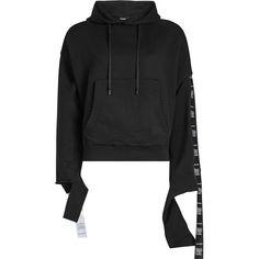 Vetements Tape Cotton Hoody ($1,135) ❤ liked on Polyvore featuring tops, hoodies, black, urban hoodie, hooded sweatshirt, cotton hoodies, sweatshirt hoodies and cotton hooded sweatshirt