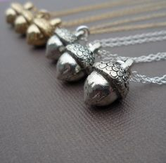 Adorable little acorn necklace from Crave Jewelry Design on #Etsy
