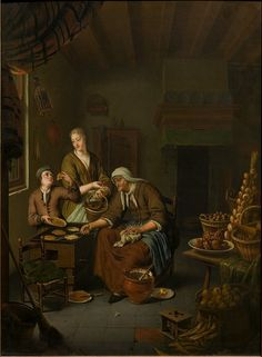 The Pancake Woman Object: Oil painting Place of origin: Leyden, Holland (painted) Date: between 1710 and 1719 (painted) Artist/Maker: Mieris, Willem van, born 1662 - died 1747 (painter (artist)) Materials and Techniques: Oil on oak panel