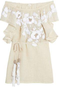 Emamo Camelia metallic linen-blend beach dress on shopstyle.com