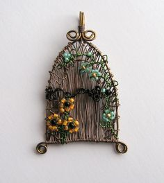 Fairy Door wire wrapped pendant with flowers