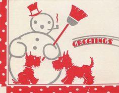 Snowman with Scotties