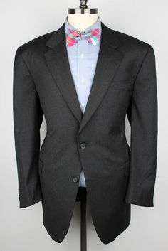Jos A Bank by ZEGNA Charcoal Grey Signature Collection Wool 46R mens Sport Coat #JosABank #TwoButton