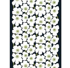 Pieni Unikko Stoff - weiß-grün (schwarzer Hintergrund) - Marimekko