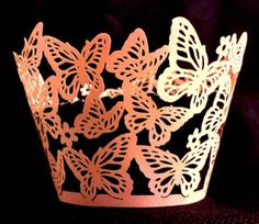 ~Lace pink butterfly cupcake case wrappers liners-12 pcs