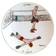 1930s or 1940s French Plates with Boxing Scenes