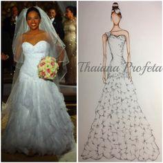 Reprodução em croqui de vestido de noiva