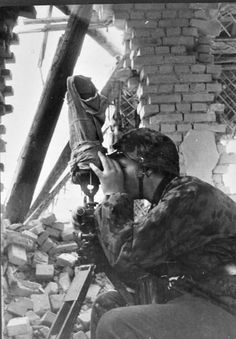 German spotter with scissor-binoculars during the siege of Leningrad