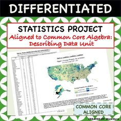 This differentiated U.S. Home Energy & Tax Themed Statistics Project covers all the standards of the Common Core Algebra Course using real data! Students will analyze various forms of tables & graphics to make inferences and interpret the data.