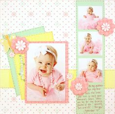 "Little girl pink scrapbook page. Creative Memories ""Fabulous"" baby girl paper"