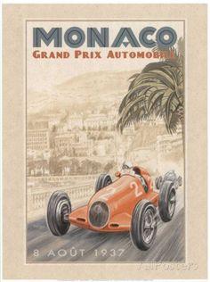 Grand Prix Automobile, c.1937 Reproduction d'art