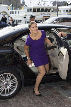 La princesse Victoria de Suède, enceinte de son deuxième enfant, prenait part avec son mari le prince Daniel à un forum commercial franco-suédois au Grand Hotel à Stockholm le 14 septembre 2015