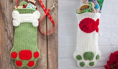 Dog and Cat Paw Stockings - part of a great roundup of free stocking patterns on mooglyblog.com