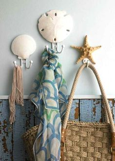 cute accessories and chippy wall treatment
