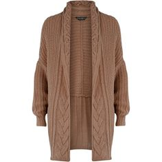 Mink cable cocoon cardigan ($57) ❤ liked on Polyvore