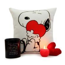 A Good Gift For Fiance Male Black Mug N Cushion Snoopy And Woodstock