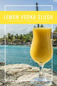 Fresh Lemon Vodka Slush Recipe | It's sweet, frosty, zingy and loaded with alcohol! This amazing summer cocktail recipe makes a huge batch so you can make it up once and have enough cocktail for months and months. Perfect for sipping poolside or serving at a party.